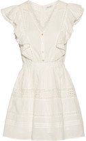 LoveShackFancy - Sylvie Embroidered Cotton-voile Mini Dress - White