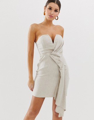 ASOS DESIGN bandeau mini dress with drape detail in textured linen