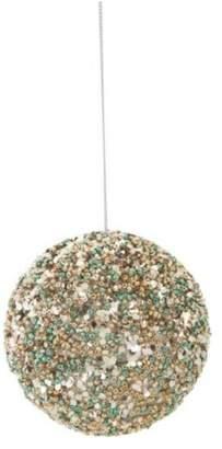 "Melrose 4"" Seasons of Elegance Teal & Gold Sequins & Beads Ball Christmas Orna"