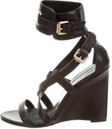 Brian Atwood Leather Crossover Ankle Strap Sandals