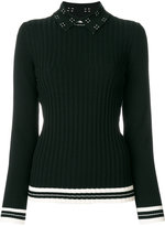 Tory Burch knitted ribbed top with decorative collar