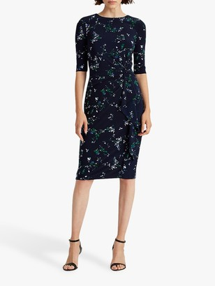 Ralph Lauren Ralph Shyla Elbow Sleeve Floral Print Day Dress, Lighthouse Navy/Regal Sapphire