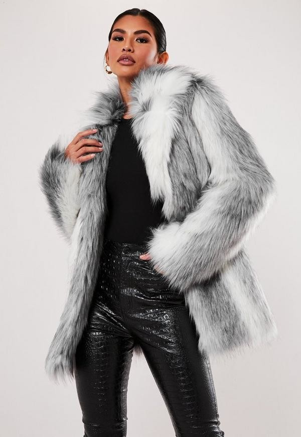 Missguided Grey Two Tone Faux Fur Coat