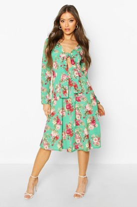 boohoo Floral Print Tie Front Woven Midi Dress