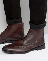 Lambretta Brogue Boots In Burgundy Leather