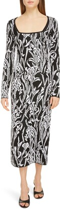 Givenchy Floral Jacquard Long Sleeve Midi Sweater Dress