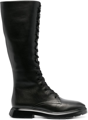 Stuart Weitzman Calf-Length Lace-Up Boots