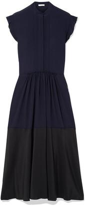 Chloé Ruffle-trimmed Two-tone Silk-georgette Midi Dress