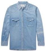 Saint Laurent - Oversized Distressed Denim Western Shirt