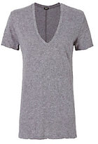 Monrow Oversized V Neck Tee: Grey