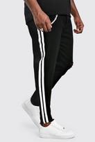 boohoo Mens Black Big And Tall Paint Stripe Skinny Jean, Black