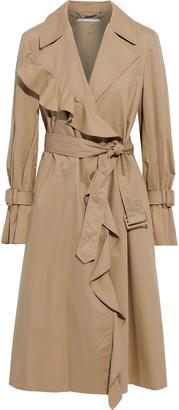 Stella McCartney Erica Ruffle-trimmed Cotton-gabardine Trench Coat