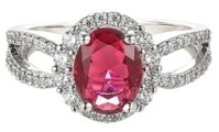 A&M A & M Silver-Tone Ruby Accent Ring