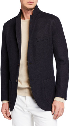 Loro Piana Men's Heathered Cashmere Sweater Jacket
