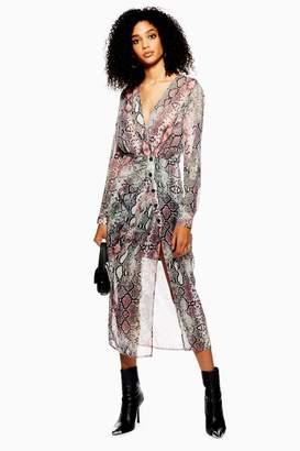 Topshop Snake Print Chiffon Midi Dress