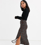 Asos DESIGN Petite jersey bias split skirt in animal floral
