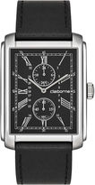 Claiborne Mens Rectangular Dial & Black Leather Strap Multifunction Watch