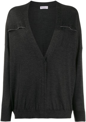 Brunello Cucinelli Relaxed-Fit Brass-Embellished Cardigan