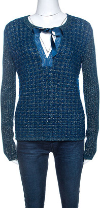 Chanel Blue-Green Tweed Mohair Wool Chain Detail Cardigan M