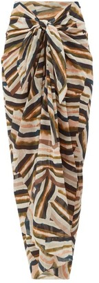 Marios Schwab On The Island By Cotton-voile Sarong - Womens - Pink Multi