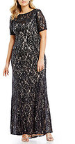 Adrianna Papell Plus Sequin Lace Short Sleeve Gown