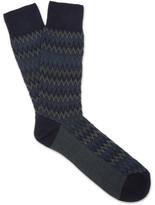 Missoni Crochet-knit Cotton-blend Socks - Navy