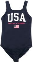 Ralph Lauren Kids TEEN logo-print low-back swimsuit