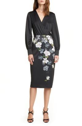 Ted Baker Alithea Floral Long Sleeve Midi Dress