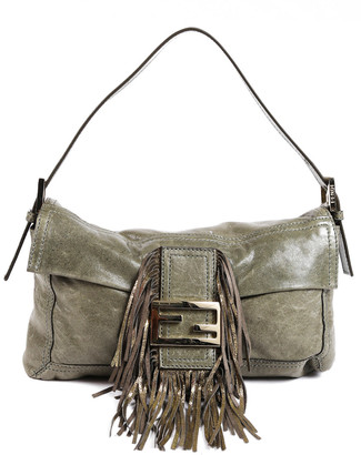 Fendi Gold & Green Leather Ff Fringe Baguette Bag