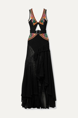 PatBO Belted Cutout Embellished Stretch-jersey, Mesh And Tulle Maxi Dress - Black
