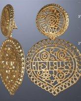 gold matte filigree clip-on earrings