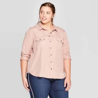 Universal Thread Women's Plus Size Soft Twill Long Sleeve Shirt