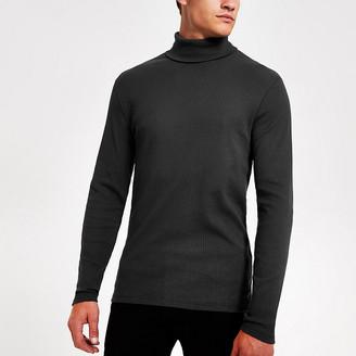River Island Dark grey roll neck long sleeve slim T-shirt