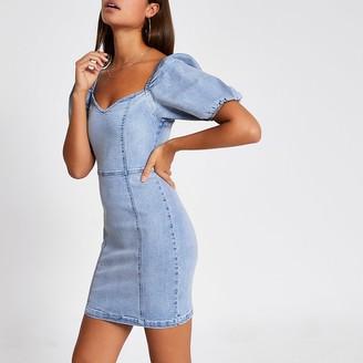 River Island Blue puff sleeve fitted denim mini dress