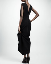 Lanvin Pinched Mid-Calf Jersey Dress, Black