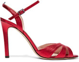Sarah Jessica Parker Westminster Metallic Leather Sandals - Red