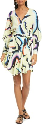 A.L.C. Enzo Long Sleeve Stretch Silk Wrap Dress