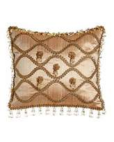 "Sweet Dreams Rue de L'amour Silk Pillow with Rosettes, 13"" x 14"""