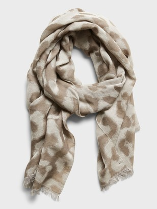 Banana Republic Leopard Wool-Cotton Layering Scarf