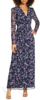 WAYF Celeste Floral Pleated Long Sleeve Gown