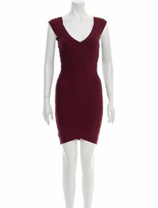Herve Leger V-Neck Mini Dress