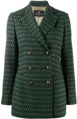 Etro Geometric-Pattern Double Breasted Blazer