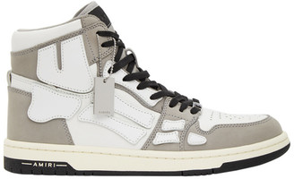 Amiri Grey and White Skeleton High-Top Sneakers