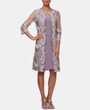 Alex Evenings Embroidered Jacket Dress