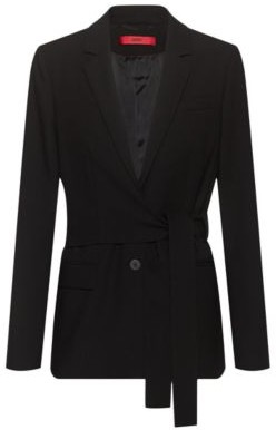 HUGO BOSS Regular Fit Jacket With Wrap Around Belt - Black