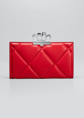 Alexander McQueen Skull Four-Ring Quilted Clutch Bag