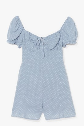 Nasty Gal Womens Spot Are We Gonna Do Puff Sleeve Romper - Blue