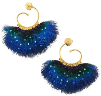 Gas Bijoux 24K Goldplated & Embellished Feather Drop Earrings