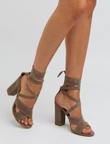 Charlotte Russe Bamboo Lace-Up Chunky Heel Sandals