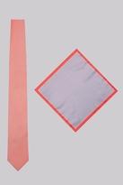 Moss Bros Coral Skinny Tie & Pocket Square Set